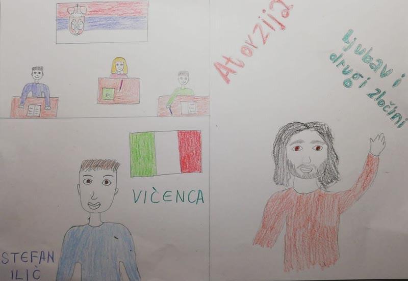 """(CRTEŽ: Stefan Ilić, 8. razred, Srpska dopunska škola """"Sveti Sava"""", Italija)"""